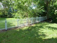 (5) White backyard fence | Aluminum Railings Toronto