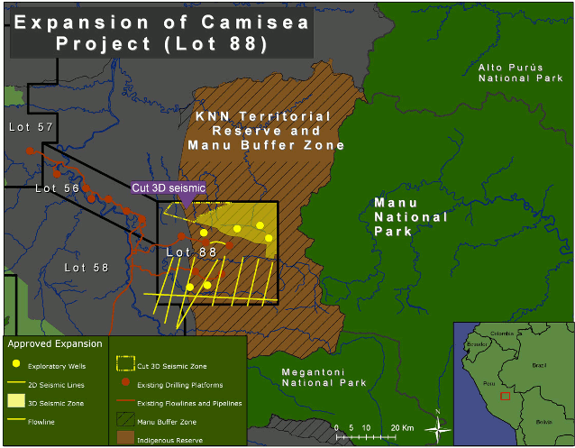 Map of gas operations in the KNN Territorial Reserve and Manu Buffer Area. Map credit: David Hill