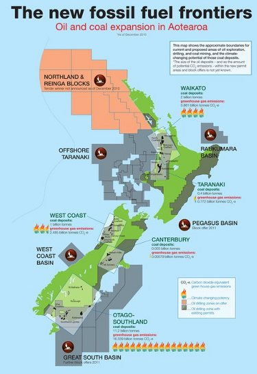 Map of potential oil and coal expansion in Aotearoa