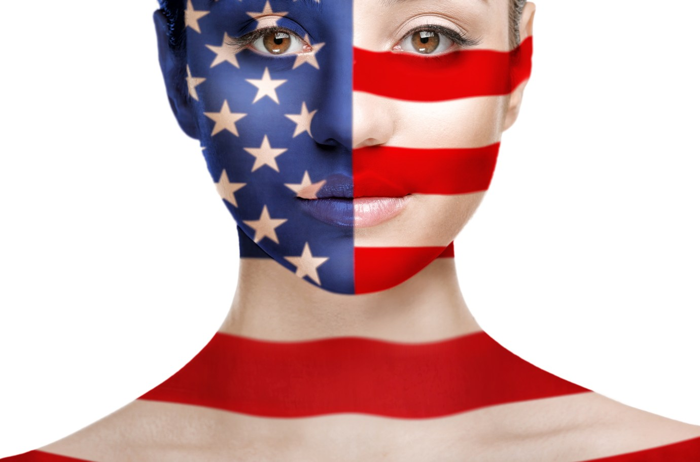 Patriotic concept. Young woman with painted face as American flag on white background