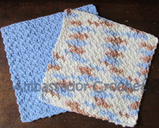 Crocheted Grit Stitch Dishcloth v.2 - free dishcloth pattern by Ambassador Crochet