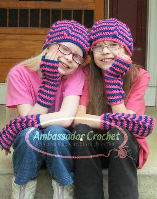 BFF Hat & Wristwarmers pattern by Ambassador Crochet