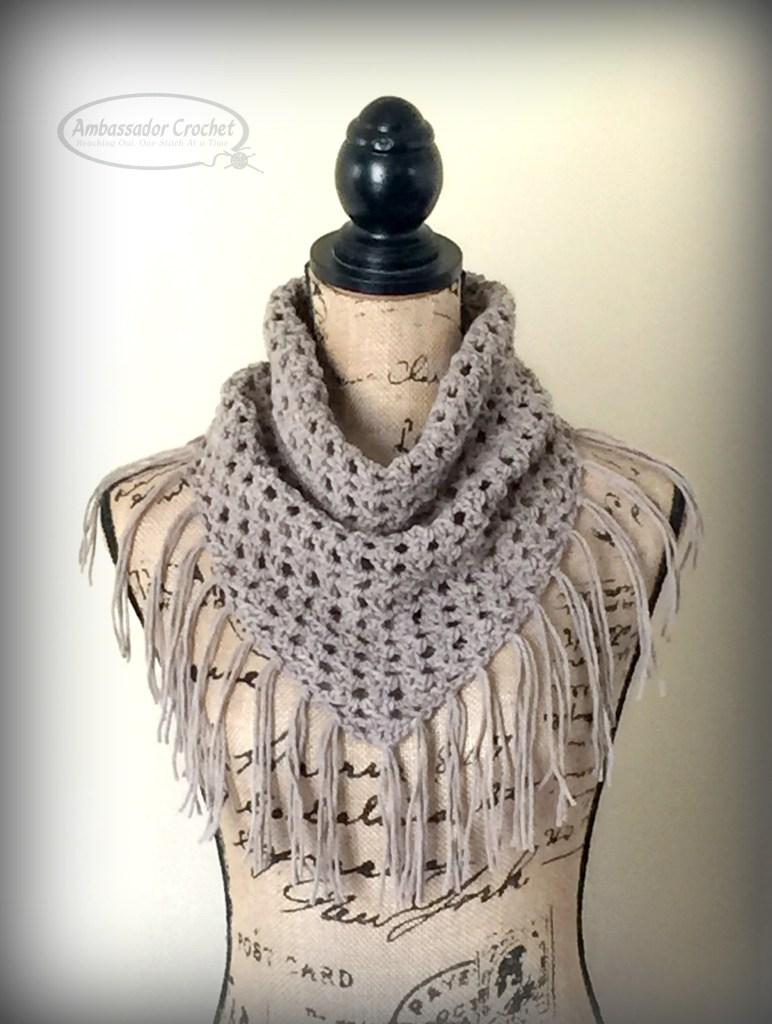 Oakley Fringe Cowl crochet pattern - $3.50 pattern by Ambassador Crochet