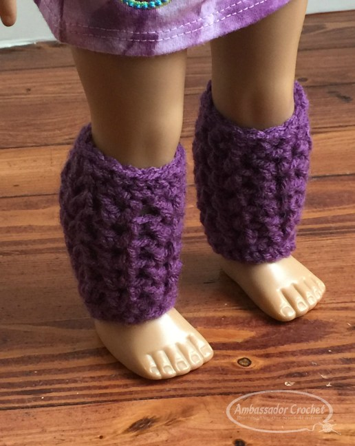 """18"""" doll slouchy and leg warmers setl. Free crochet pattern by Ambassador Crochet. - will fit American Girl, Our Generation, Journey girls, and many more brand dolls."""