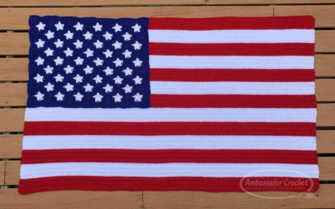 American Flag afghan crochet pattern using LDC. - crochet pattern and tutorial by Ambassador Crochet.