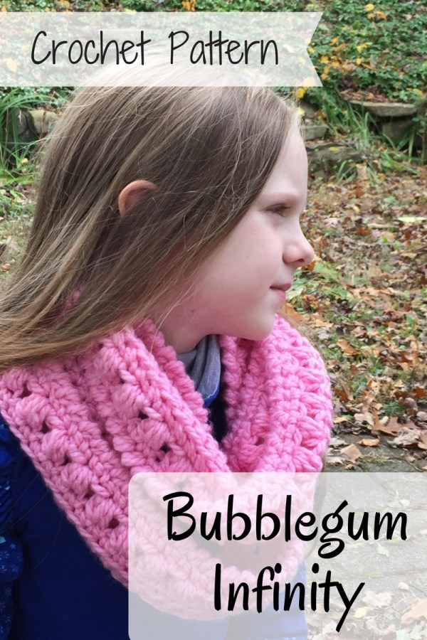 Bubblegum Infinity Scarf crochet pattern by Ambassador Crochet. A quick, fun pattern for all ages.