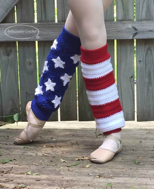 Stars & Stripes Legwarmers crochet pattern by Ambassador Crochet