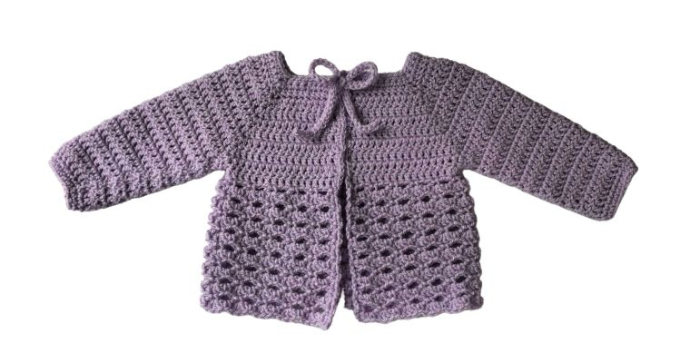 Black Raspberry Baby Sweater Free Crochet Pattern