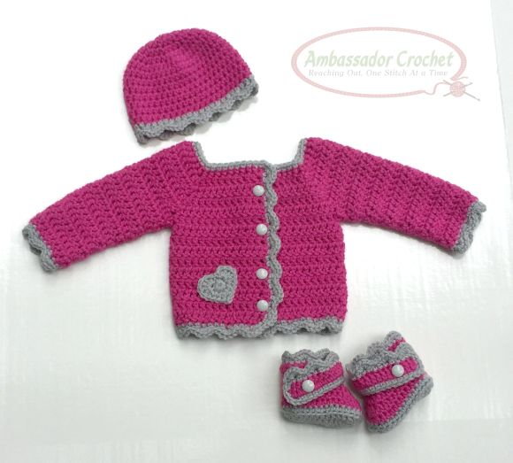 Jordan Baby Girl Sweater set by Ambassador Crochet