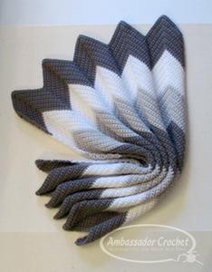 Waves of Grayce ripple baby afghan - crochet pattern by Ambassador Crochet - $3.50