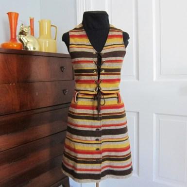 Vintage Bobbie Brooks 2 piece wool dress 60's 70's Hippie