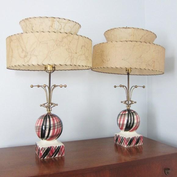 vintage lamps mid century ceramic fiberglass shades retro pink black metal