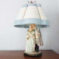 vintage chalkware lamp venetian shade blue white coloinal figure retro 50s mid century