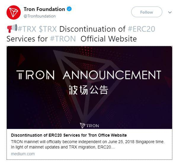 TRON's official annoucement of discontinuation of services on ERC20. Source: Twitter