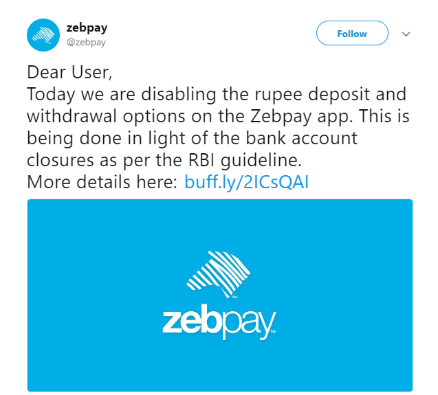 Zebpay's tweet | Source: Twitter