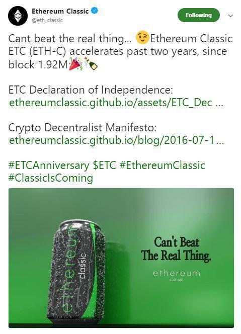 Ethereum Classic Independence Tweet | Source: Twitter