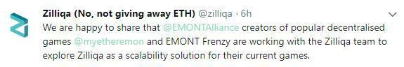 Zillliqa's announcement tweet | Source: Twitter