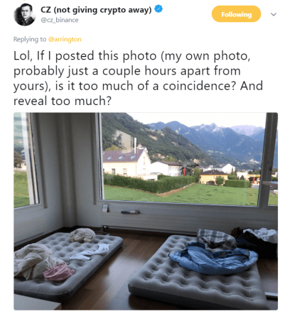 CZ's post | Source: Twitter