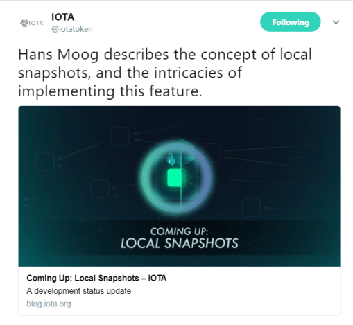 IOTA's Hans Moog discusses Local Snapshots | Source: Twitter