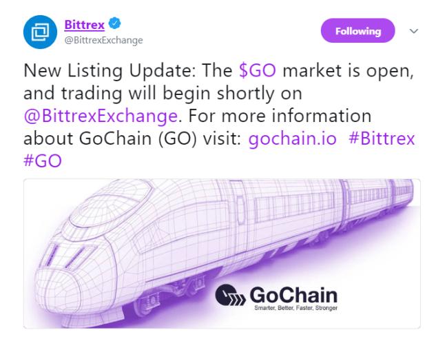 Bittrex lists GoChain | Source: Twitter
