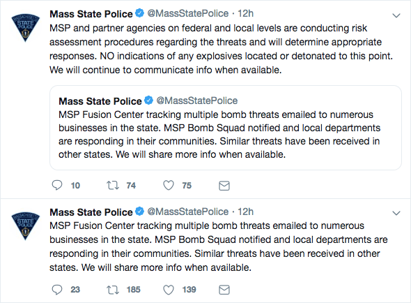 Massachusetts State Police statement on the incident | Source: Twitter