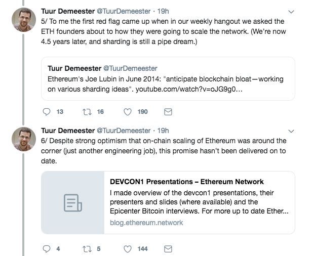 Tuur Demeester's remarks on Ethereum's scalability | Source: Twitter