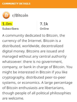 r/Bitcoin at 1 million subscribers | Source: Reddit