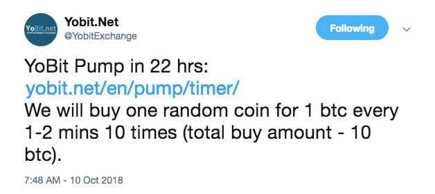 YoBit announcement regarding pump-and-dump scheme