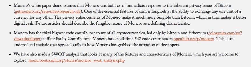 Features and characteristics that make Monero great and popular   Source: Monero Outreach