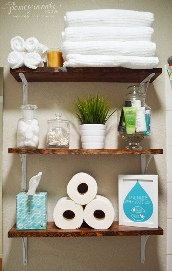 Bathroom Storage: Over the Toilet // Round up by amber-oliver.com // Photo from lovepomegranatehouse.com