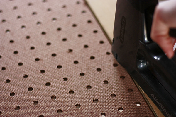 stapling the pegboard