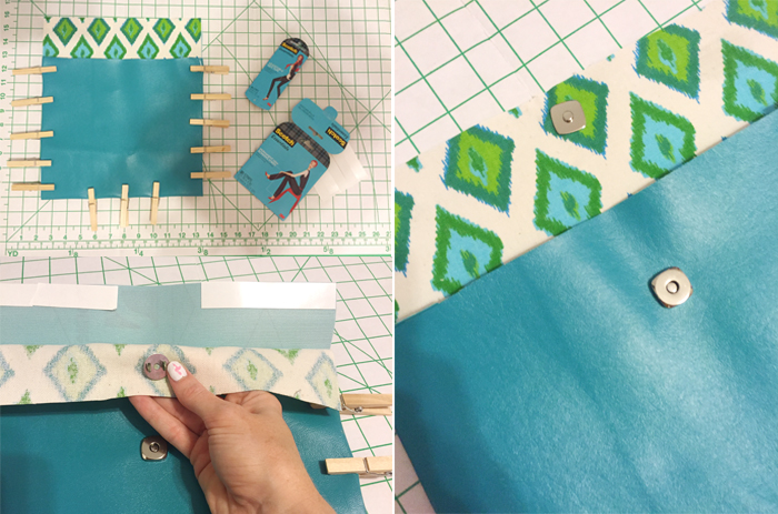 clasp on DIY no sew clutch by Amber Oliver