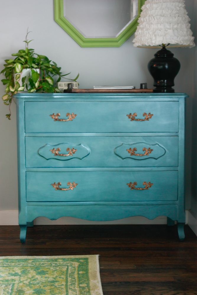 DIY dresser make over with DecoArt Metallics from Michaels