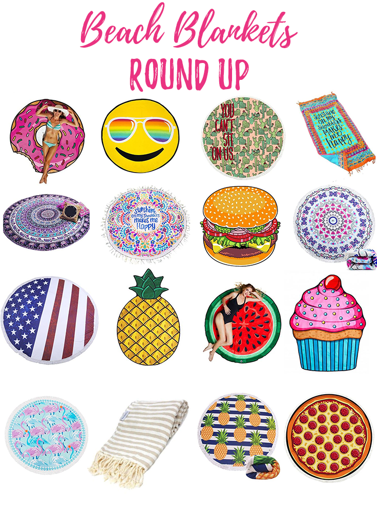 Beach Blanket Round Up! Cute beach blankets that are perfect for a day at the beach.