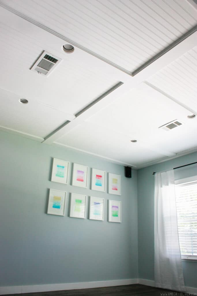 DIY Ceiling Makeover - How to do a faux coffered beadboard ceiling