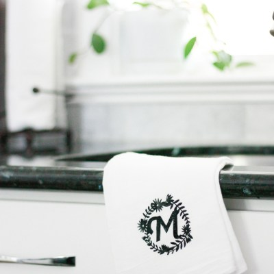 DIY Monogrammed Tea Towel