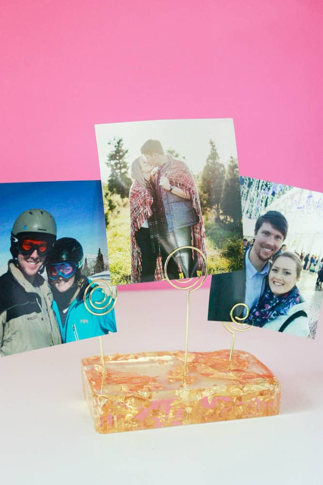 Close up of a DIY Resin Photo Holder - an easy resin craft!