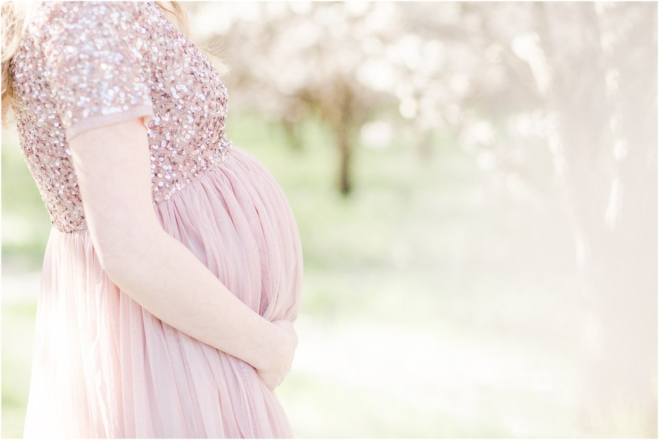 Almond Blossoms Spring Maternity Session Blush Sequin Gown