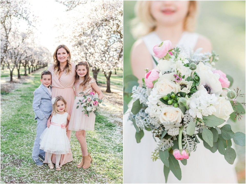 Spring Almond Blossoms Family Portraits Neutrals and Pink Floral Bouquet,