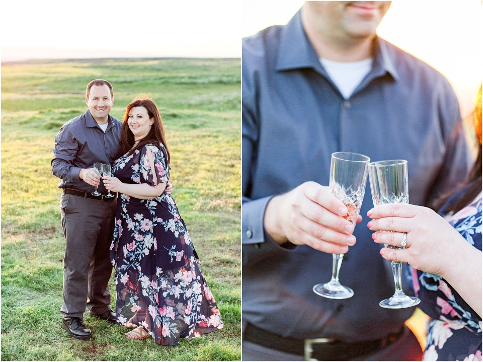 Table Mountain Butte County Spring Wildflowers Engagement Session Champagne Toast