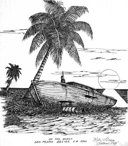 Belize Art Island Dog Lithographs Pen Ink Calendars