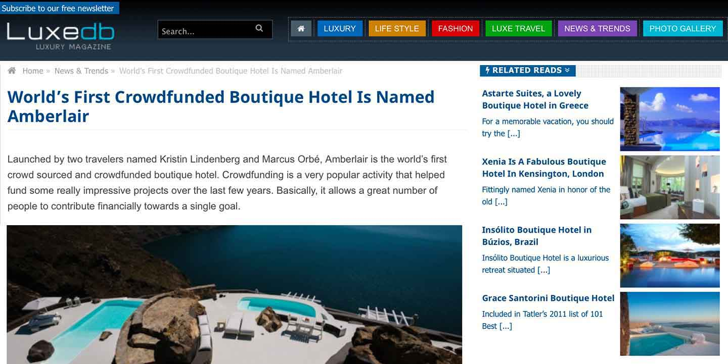 Amberlair Crowdsourced Crowdfunded Boutique Hotel -Luxedb