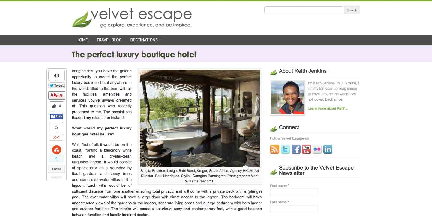 Amberlair Crowdsourced Crowdfunded Boutique Hotel - Keith Jenkins from Velvet Escape