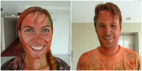 Stained, but well prepared for Holi in Delhi, India.