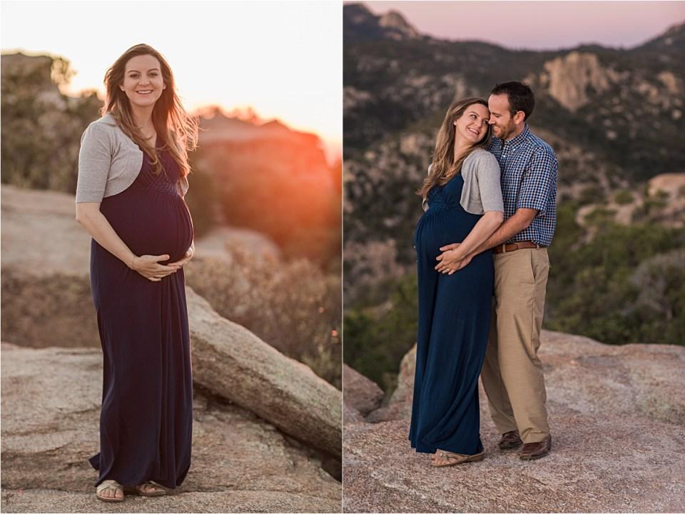 maternity_mount-lemmon_pregnant-mother_blue-dress_super-moon_sunset_02