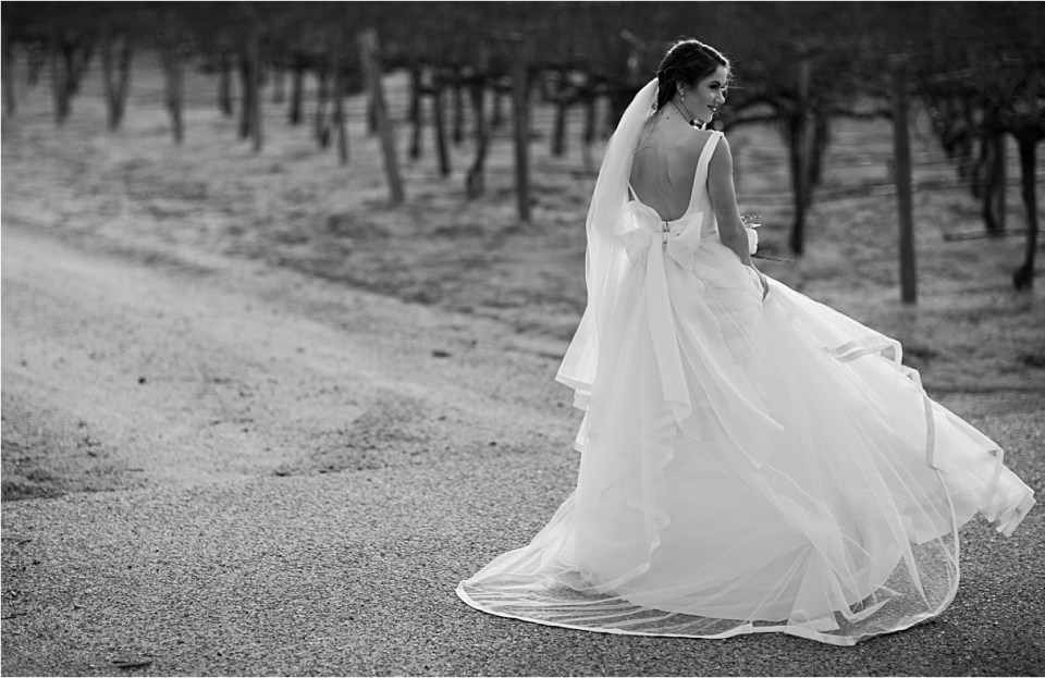 Bride in a vineyard wearing a WattersWtoo gown.