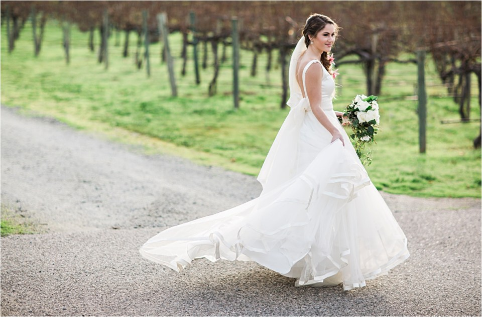 Bride in a Watters Gown at Folktale Winery and Vineyard.