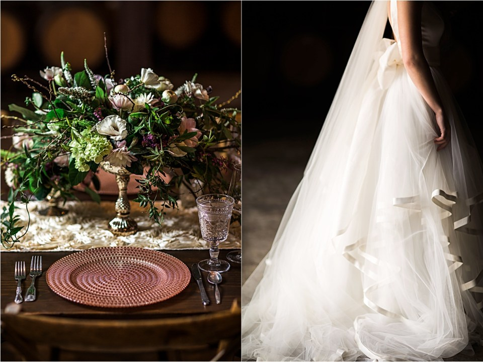 Blush and Crystal table decor by Willow and Plum, Carmel Valley, Ca