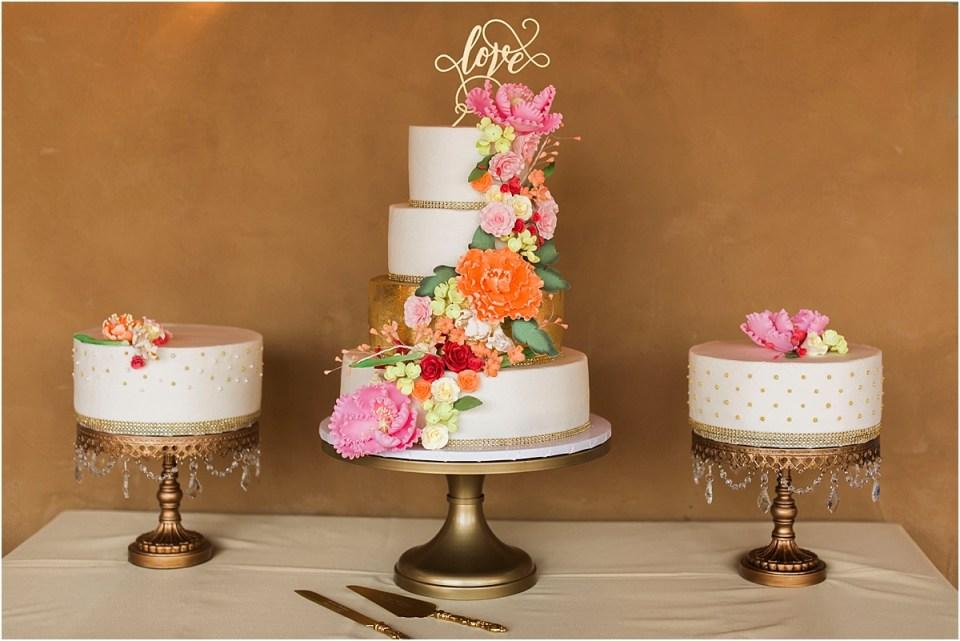 Wedding cake with sugar flowers by Jaime Cakes, Tucson, Arizona.