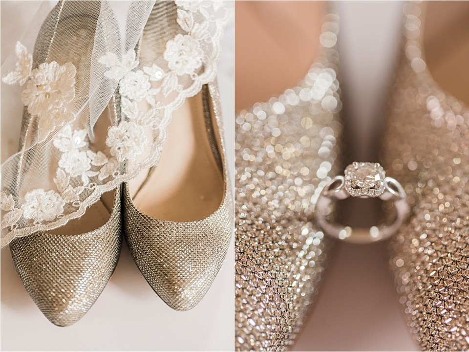 Bridal shoes and Mantilla Veil